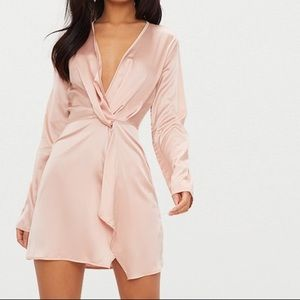 PLT Nude Satin Wrap Mini Dress